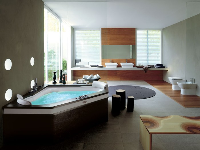 corner elevather bathtub, surrounded by dark brown wooden panels, and filled with water, inside a large and modern bathroom