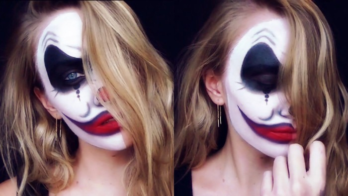 evil clown makeup, worn by a blonde woman, with wavy shoulder length hair, seen from two angles
