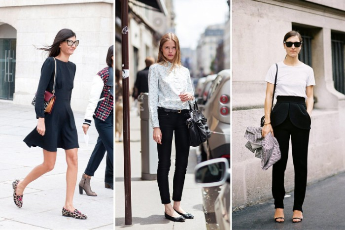 mini dress in black, skinny black trousers, and a light button up shirt, white t-shirt and smart black trousers, three capsule closet ideas