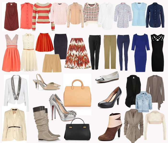 various clothing items in different colors, t-shirts and jumpers, shirts and skirts, trousers and dresses, shoes and outwear, capsule wardrobe planner