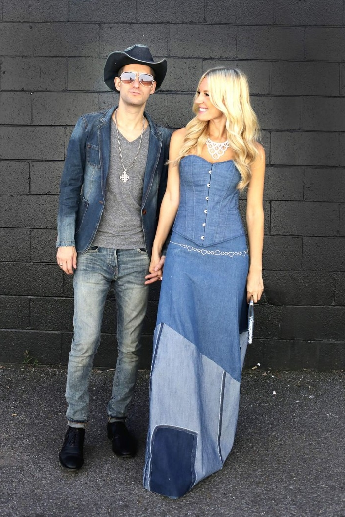 denim maxi patchwork dress, worn by a smiling blonde woman, holding hands with a man, dressed in jeans, a denim jacket and a denim hat, funny couple halloween costumes, britney spears and justin timberlake