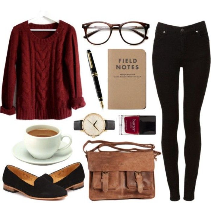 loafers in black suede, and a brown leather satchel, black skinny trousers, and a pair of glasses, burgundy cable knit sweater, and various accessories
