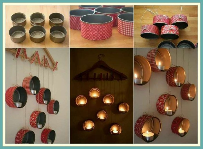 tin cans decorated with red and white patterned paper, and transformed into candle holders, tutorial in six steps