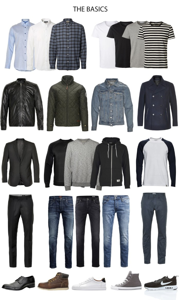 men's wardrobe essentials, three different shirts, four t-shirts and four jackets, jeans and trousers, sweaters and blazers, four pairs of shoes