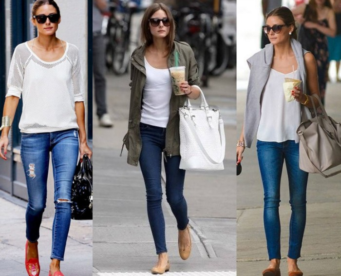 combining blue jeans, with white t-shirts, young brunette woman, demonstrating three different casual outfits, with capsule wardrobe essentials