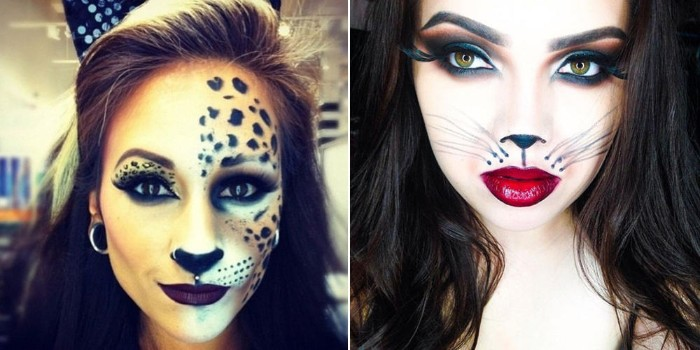 leopard face paint, decorating one half of a woman's face, next image shows a pale young woman, with red lipstick, hand-painted cat whiskers, and a cat nose