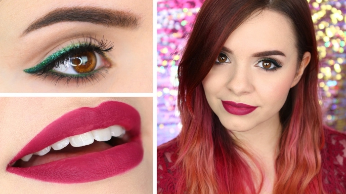 matte dark pink lipstick, worn by a smiling young woman, with brown and pink ombre hair, and shimmering green eyeliner