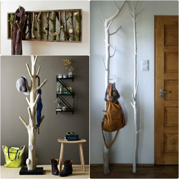 using natural pieces of wood, to make creative coat hangers, three different examples, in white and dark brown
