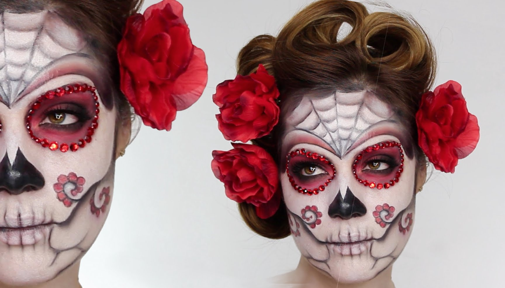 skeleton face paint, two images showing a woman's face, decorated with white, black and red paint, and red rhinestones, sugar skull costume, curled brunette hair, with red flowers