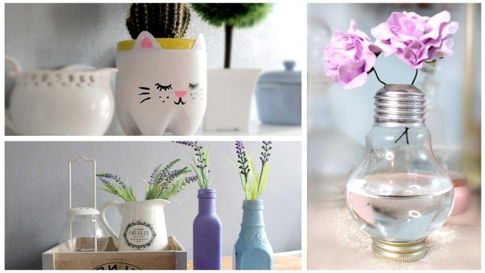 ideas for different DIY room decorations, vases made from a used lightbulb, used bottles and a pitcher, a kitty flower planter
