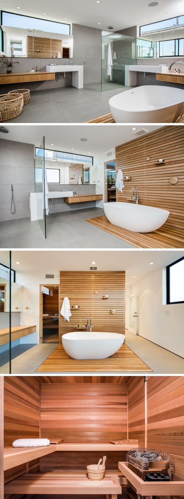 four images showing bathroom interiors, grey floor and walls, wooden details and a bathtub, a photo of a sauna, bath remodel ideas