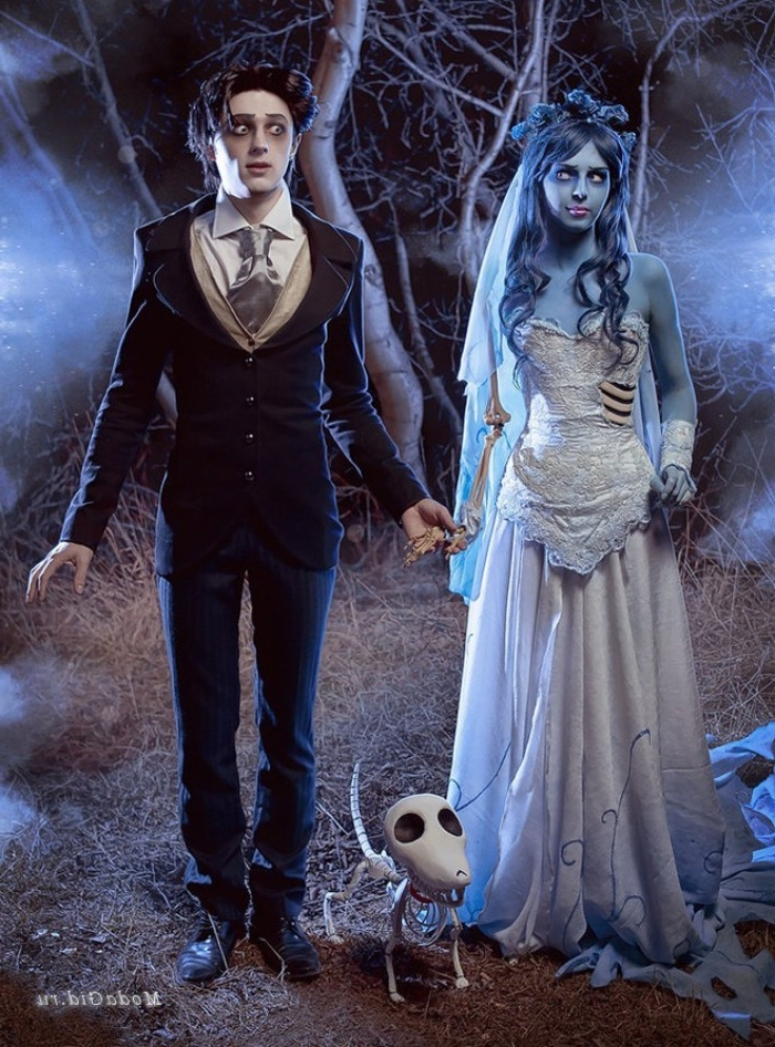 detailed outfits and makeup, inspired by tim burton's the corpse bride, cute couple halloween costumes, man in a smart suit, woman with skin painted blue, wearing a wedding gown