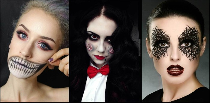 three examples of halloween costumes, witch face paint, the guy from saw, young woman with skeleton jaw