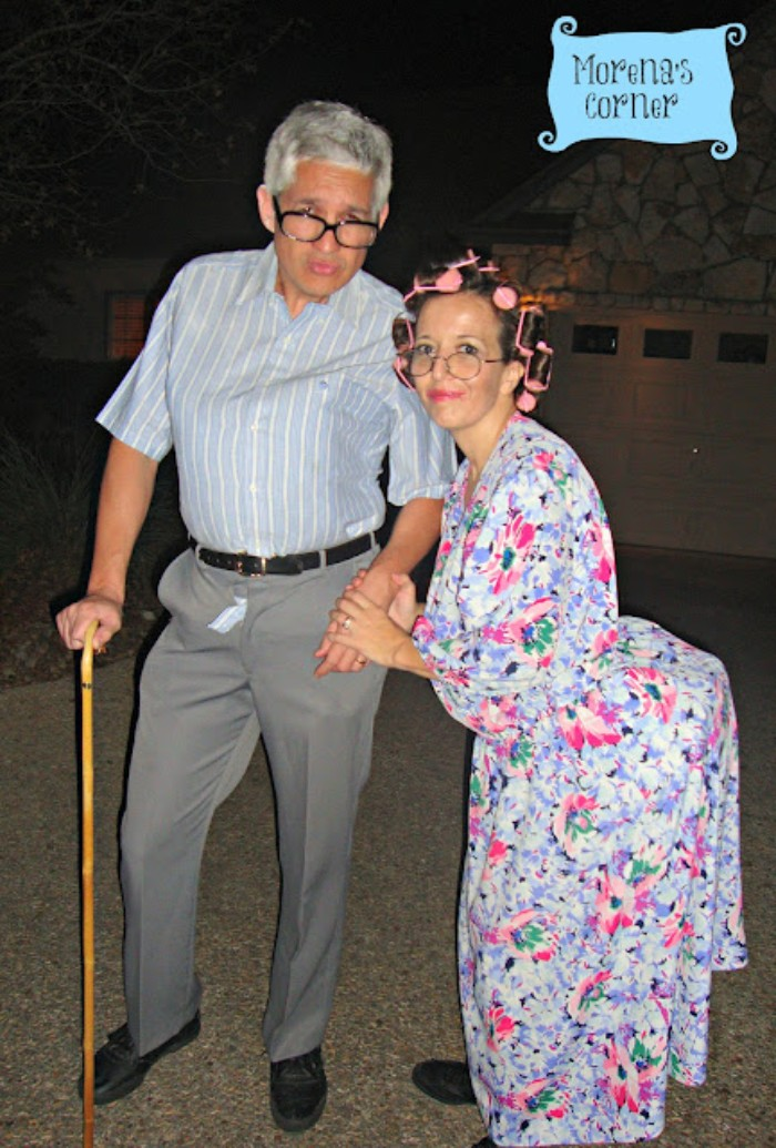 old man and woman outfits, funny couple halloween costumes, grey trousers and a short-sleeved shirt, floral maxi dress and hair rollers