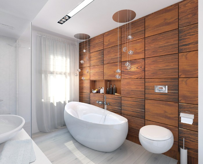 hanging decorative lights, inside a bright room, containing a white bathtub, an oval toilet seat, and a wall covered with wooden panels, bath remodel ideas, window with white curtains