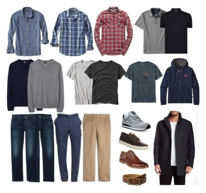 minimalistic capsule wardrobe men, shirts and jumpers, t-shirts and a hoodie, trousers and jeans, shoes and accessories
