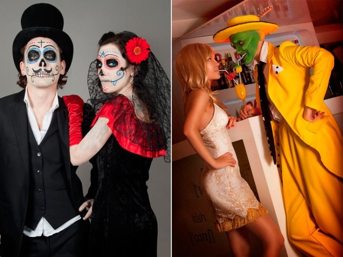 two images side by side, showing cute couple halloween costumes, the mask and tina, a bride and groom, with dia de los muertos make up