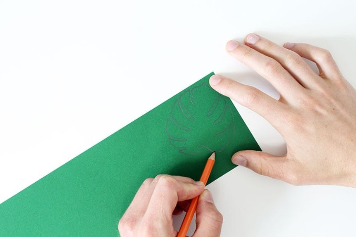 drawing the outlines of a palm leaf, on a piece of green paper or card, using a pencil, how to decorate a bedroom, using paper art
