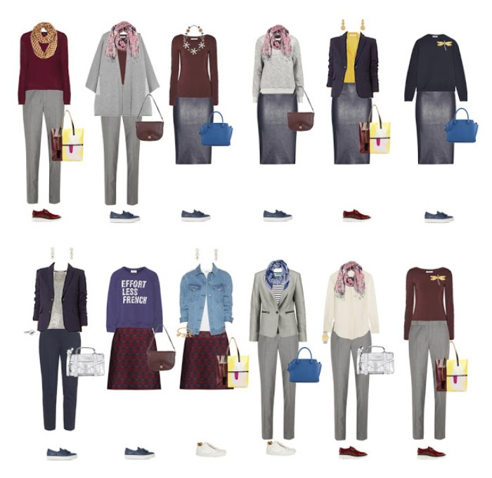 capsule wardrobe essentials, twelve mix and match outfits, with a black leather pencil skirt, pale grey trousers, a burgundy patterned mini skirt, different jumpers and blazers