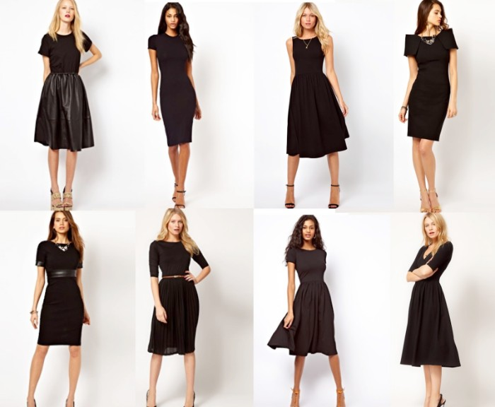 little black dresses, eight different models, worn by young, slim blonde and brunette women, capsule wardrobe essentials