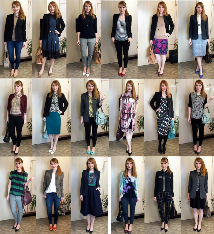 mix and match, capsule wardrobe planner, with eighteen different outfits, demonstrated by a young woman, with copper red hair