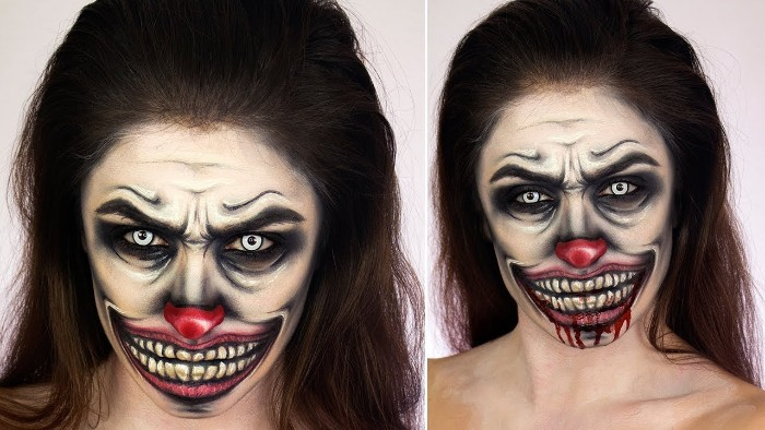 bad clown face paint, with a big evil smile, yellow teeth and a red nose, lots of wrinkles and pale blue eyes, worn by a brunette woman