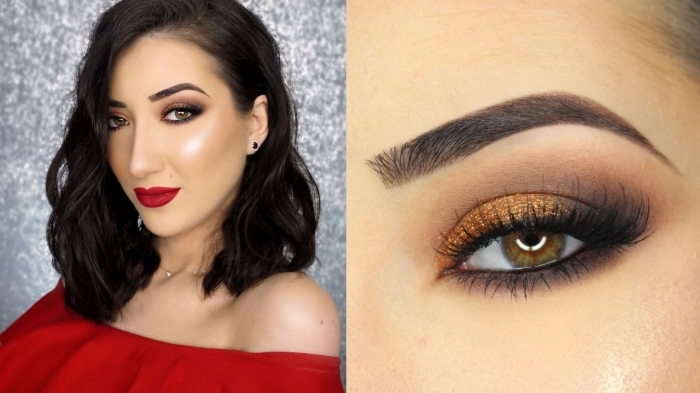 off-the-shoulder top in red, worn by a smiling woman, with wavy black hair, red lipstick and eye shadow in rey and gold, christmas eye makeup, with smokey effect, and fake eye lashes