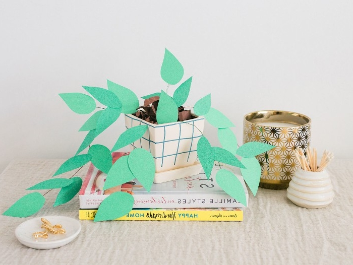 faux potted plant for your desk, made with wire and paper cutouts, in different shades of green, diys to do at home