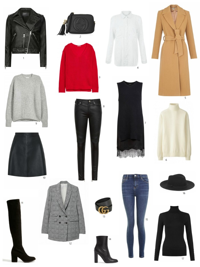 seventeen items of clothing, for a capsule wardrobe, little black dress, skinny blue jeans, black over the knee boots, leather biker jacket and others