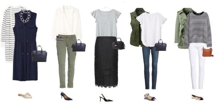 office capsule outfits, dark navy sleeveless midi dress, long striped cardigan, trousers and a white blouse, black skirt and a grey t-shirt, and others