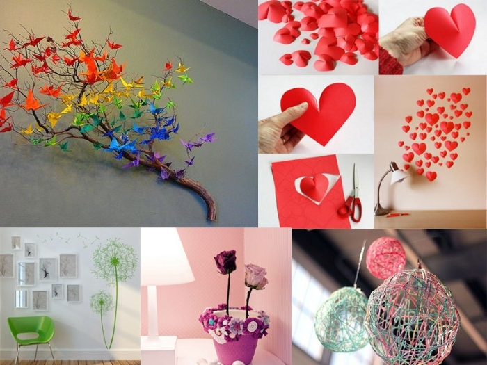 origami birds in different colors, decorating a dried branch, suspended on a wall, red 3D effect heart-shaped paper cutouts, and other DIY ideas