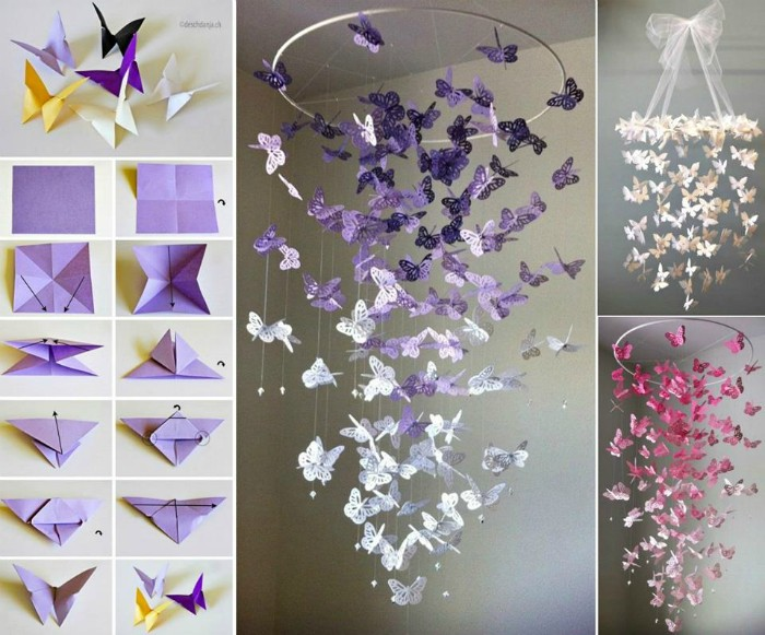 step by step tutorial, for making origami butterflies, and images of ceiling decorations, with paper butterflies in different colors
