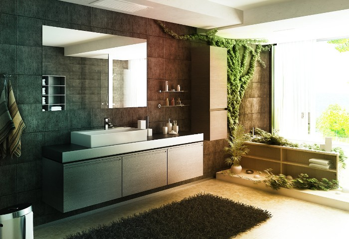 plants of different kinds, decorating a spacious room, with pale cream floor, and dark grey tiled walls, spa like bathrooms, fluffy dark grey rug