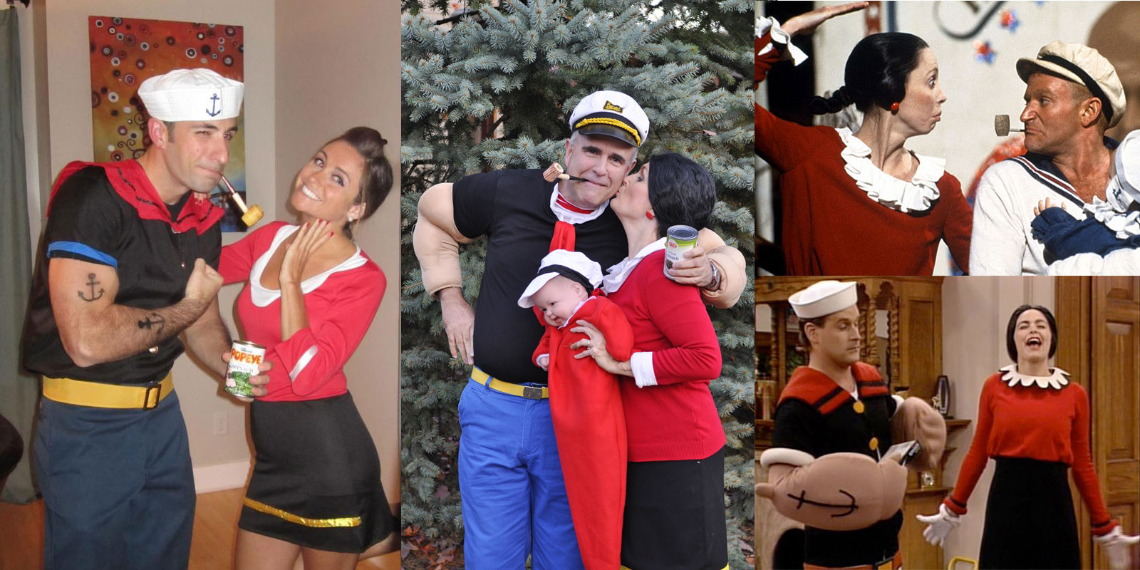 several couples dressed like popeye and olive oyl, cute couple halloween costumes, sailor outfits and hats, red jumpers and blakc skirts
