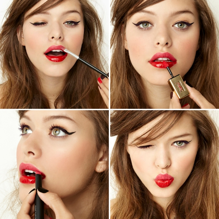 winking young woman, with messy brunette hair, wearing black eyeliner, and putting on pink and red lipstick, holiday makeup, tutorial in four images