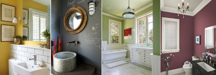 collage with four images, showing bathrooms in different colors, yellow with subway tiles, dark grey with white chalk details, best paint for bathrooms, pale green and maroon