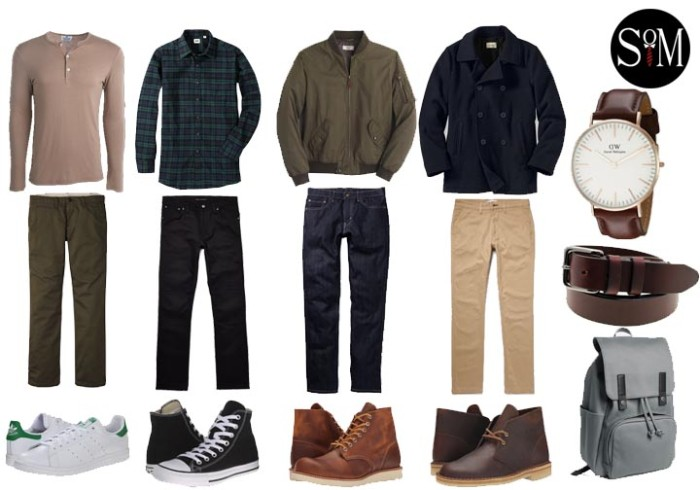 casual capsule wardrobe men, four pairs of trousers, jumper and flannel shirt, jacket and coat, four pairs of shoes, backpack and accessories