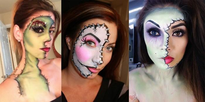 broken doll, frankenstein's monster, and frankenstein's bride face paint, worn by three different women