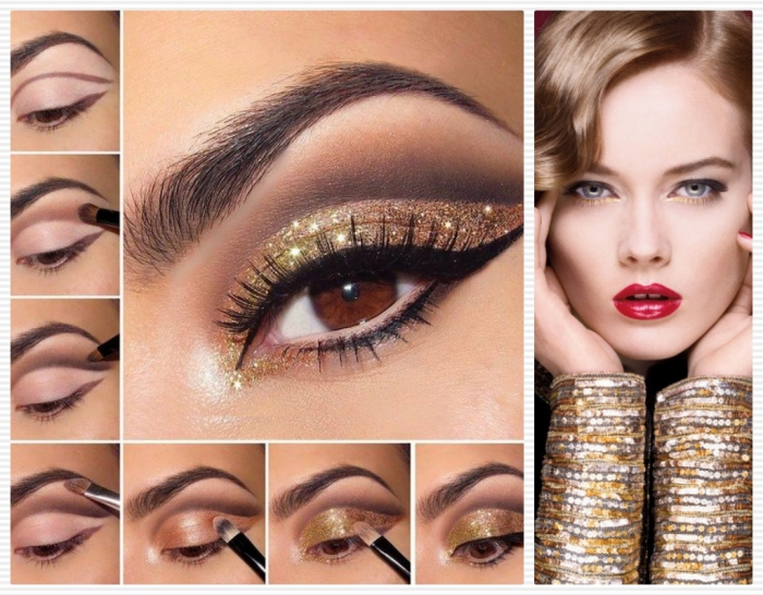 seven images showing how to apply eye makeup, sparkly gold eyeshadow, black eyeliner and faux lashes, holiday makeup, next image shows a brunette woman, with red lipstick, and gold and silver sleeves