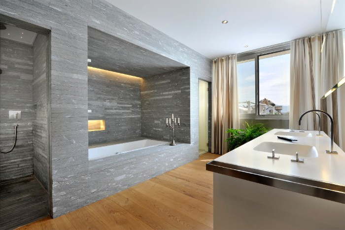Bath Remodel Ideas, Large And Bright Room, With Wooden Floor, And A Shower
