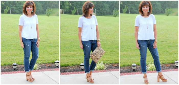 classic combination of blue jeans, and a plain white t-shirt, worn with beige high heeled sandals, by a smiling brunette woman, seen in three images