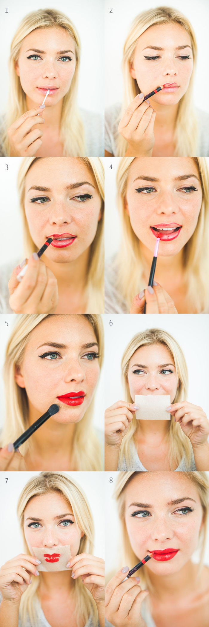 eight photos explaining how to apply red lipstick, holiday makeup, slim blonde woman, with balck eyeliner, applying cream on her lips, outlining them with a pencil, and putting on red lipstick