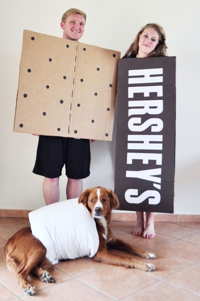 dog dressed like a marshmellow, near a man in a cracker costume, and a woman dressed like a hershey's chocolate bar, quick halloween costumes, for couples and pets