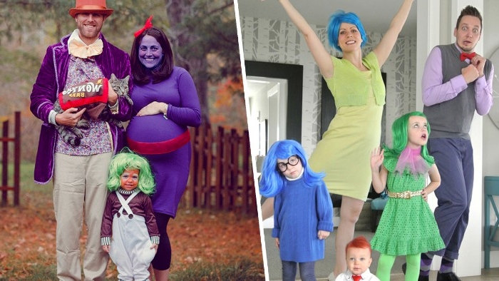 charlie and the chocolate factory, and inside out, halloween costumes for couples, parents and children