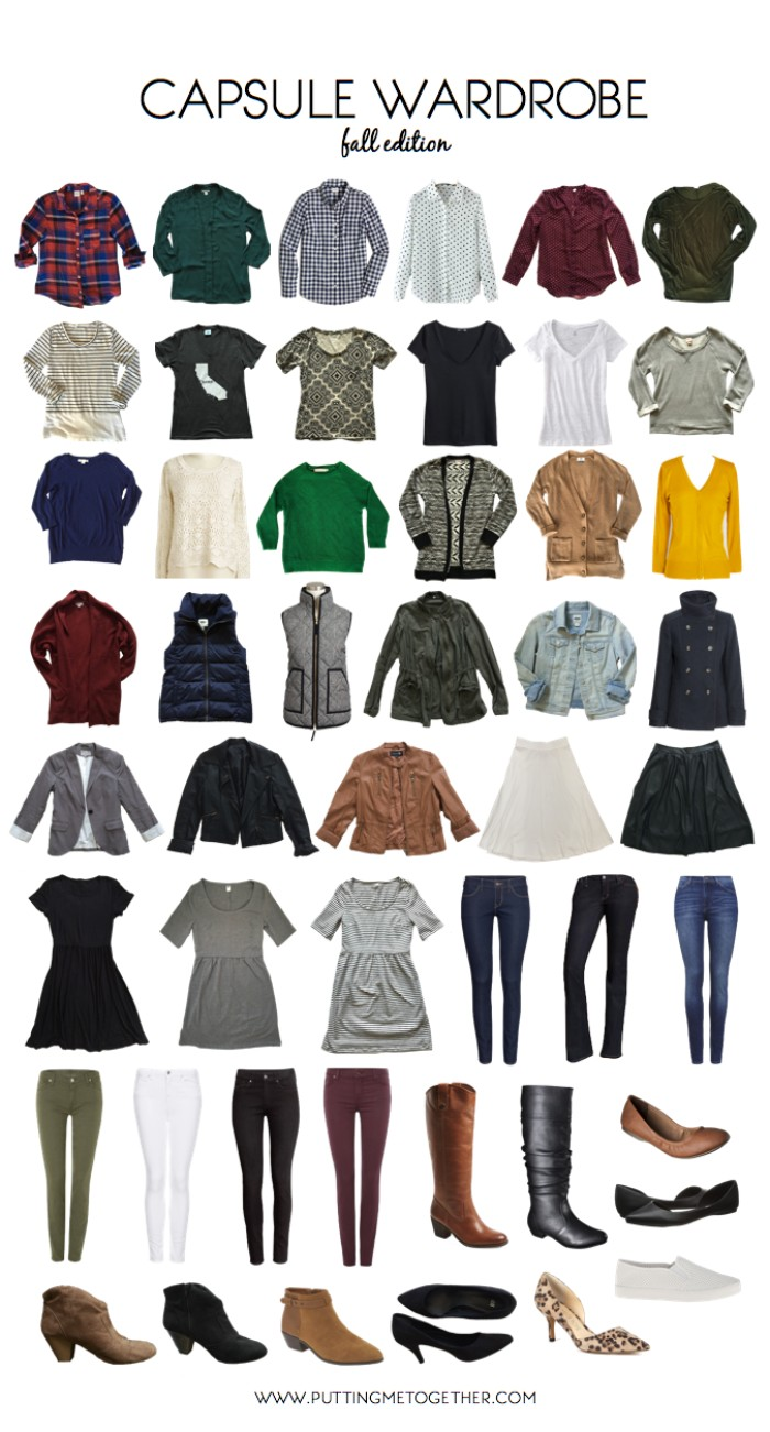 assortment of capsule wardrobe essentials, for fall and winter, flannel shirts in different colors, jumpers and patterned tees, trousers and jeans, skirts and dresses, several pairs of shoes