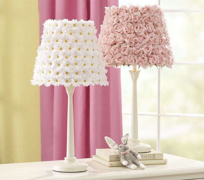 stuffed bunny toy, placed near two lamps, with handmade lampshades, diys to do at home, decorated with faux pink roses and daisies