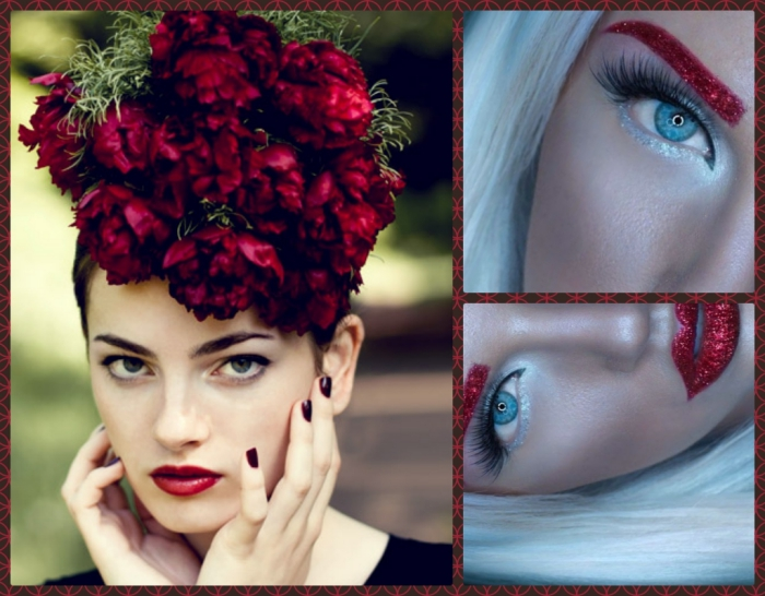 floral ornament in dark red, and pale green, on the head of a pale young woman, with red lipstick, christmas makeup ideas, two images showing close ups, of a platinum blonde woman, with glittering red lips and eyebrows, and faux lashes