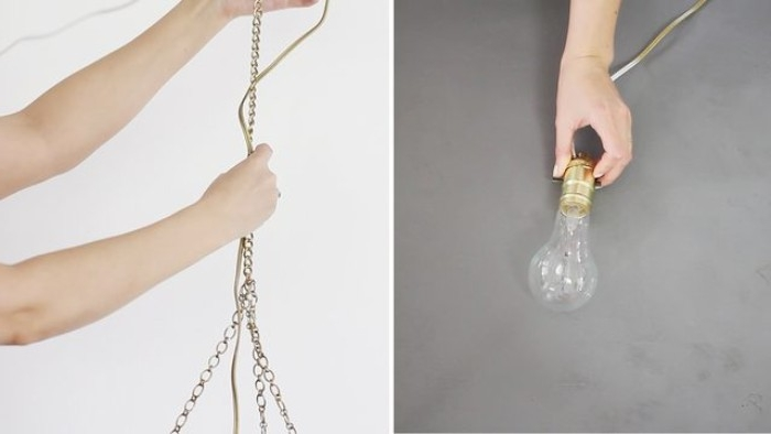 cable attached to a lightbulb, held by a hand, next image shows two arms, holding a cable and a chain, bedroom makeover, create your own hanging lamp