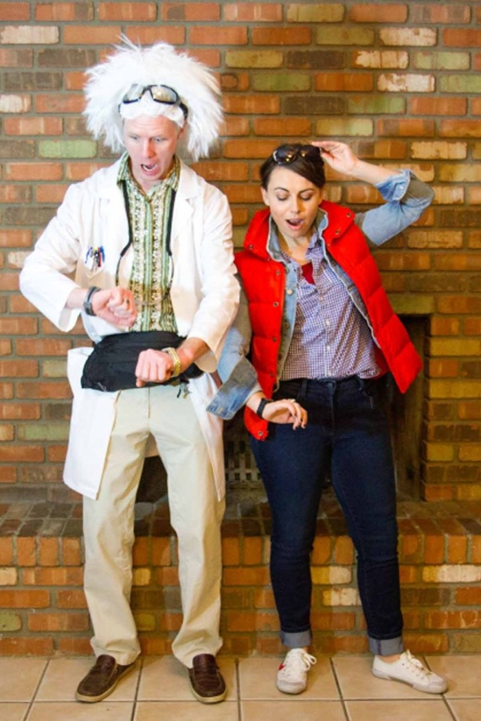 back to the future, funny couple halloween costumes, young woman dressed like marty mcfly, man dressed like the professor