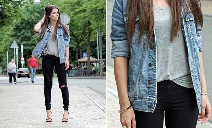 two images showing a young, slim brunette woman, wearing ripped black skinny jeans, a grey t-shirt, and a denim jacket, capsule wardrobe, seen in close up, and in a medium shot